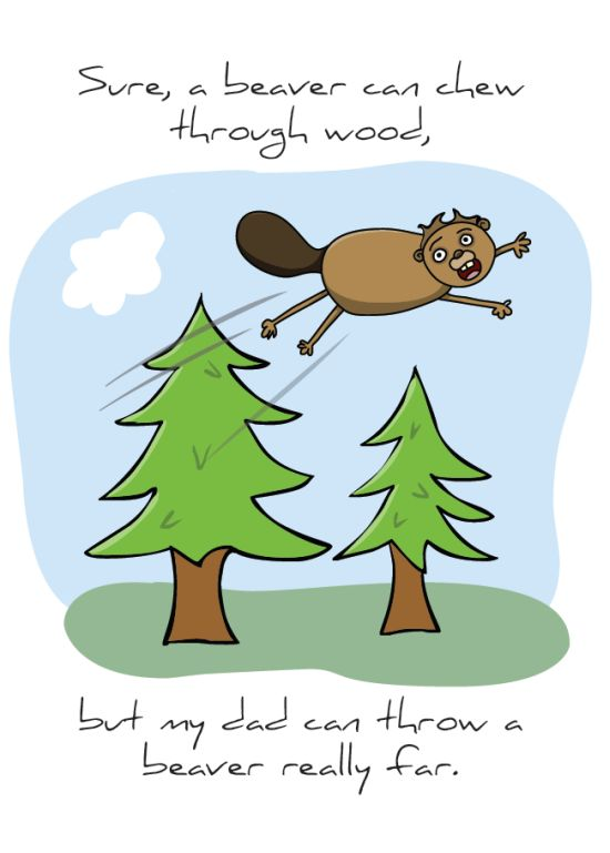 "Front of ""Dad Beaver"" card"
