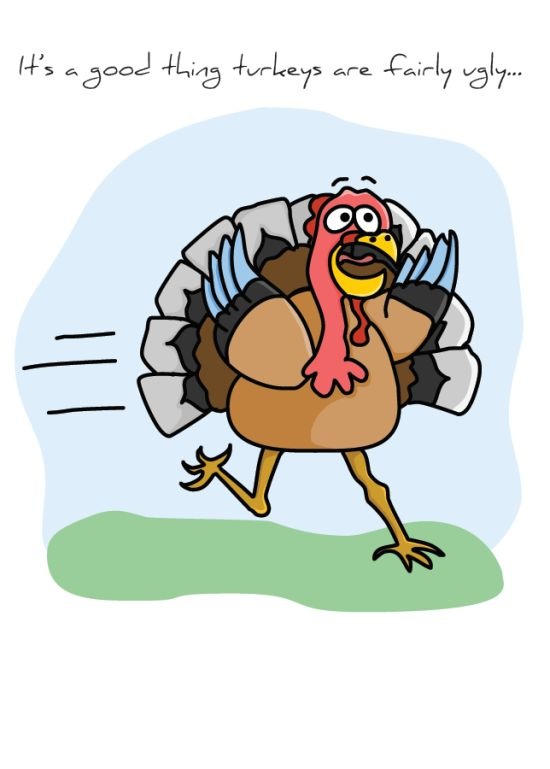 "Front of ""Ugly Turkey"" card"